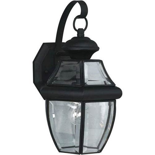 Black One-Light Outdoor Wall Lantern