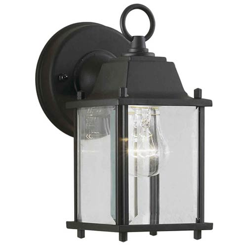 Forte Lighting Black One-Light 4.5-Inch Wide Cast Aluminum Outdoor Wall Sconce