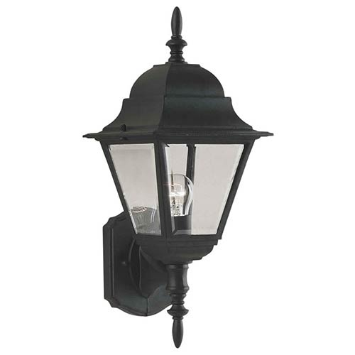 Forte Lighting Black One-Light 6-Inch Wide Cast Aluminum Outdoor Wall Sconce