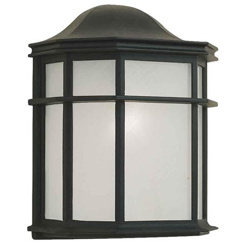 Forte Lighting Black One-Light Cast Aluminum Outdoor Wall Sconce with White Acrylic Panel