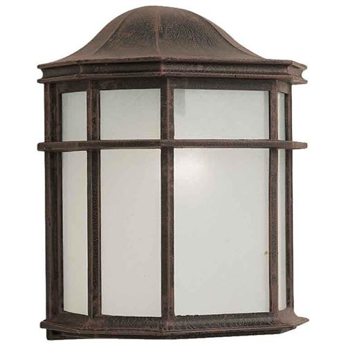 Forte Lighting Painted Rust One-Light Cast Aluminum Outdoor Wall Sconce with White Acrylic Panel Glass