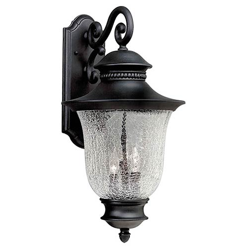 Forte Lighting Black Three-Light Cast Aluminum Outdoor Wall Sconce with Clear Crackle Glass