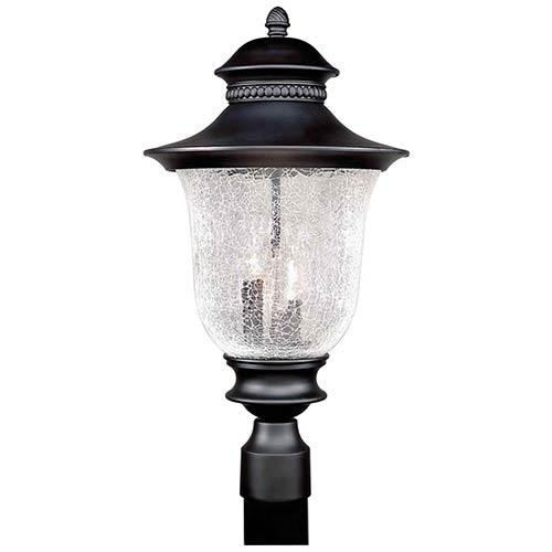 Forte Lighting Black Three-Light 21-Inch High Cast Aluminum Outdoor Post Mount