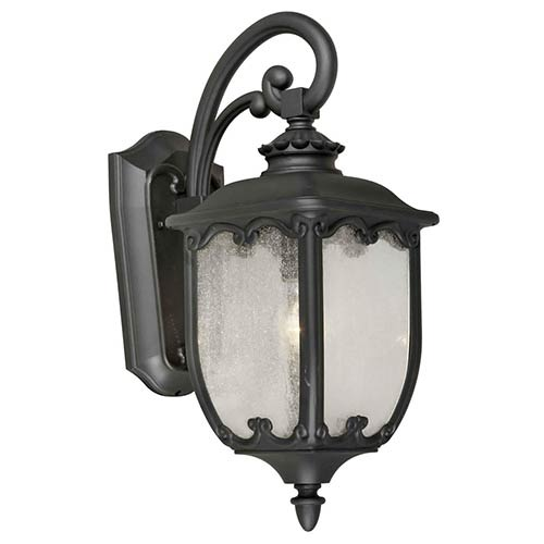 Black One-Light 8-Inch Wide Cast Aluminum Outdoor Wall Sconce