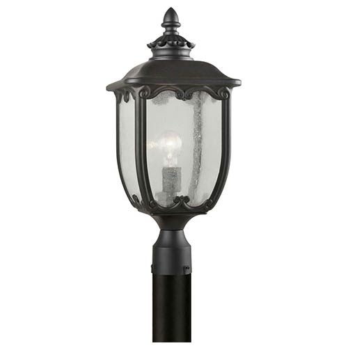 Black One-Light 21.5-Inch High Cast Aluminum Outdoor Post Mount