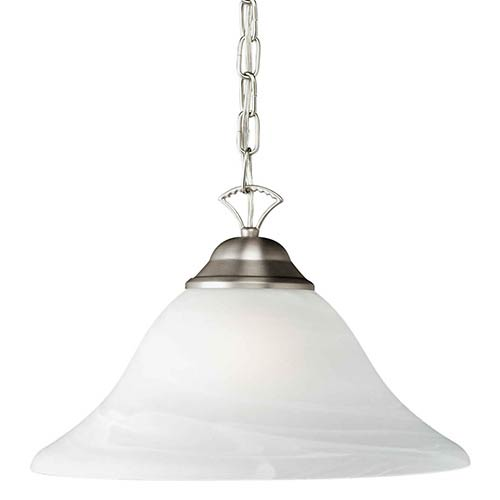 Forte Lighting Brushed Nickel One-Light Pendant with Marble Glass