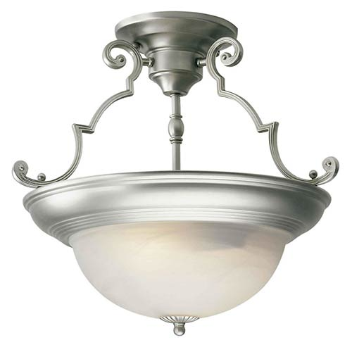 Brushed Nickel Two-Light 15-Inch Wide Semi-Flush