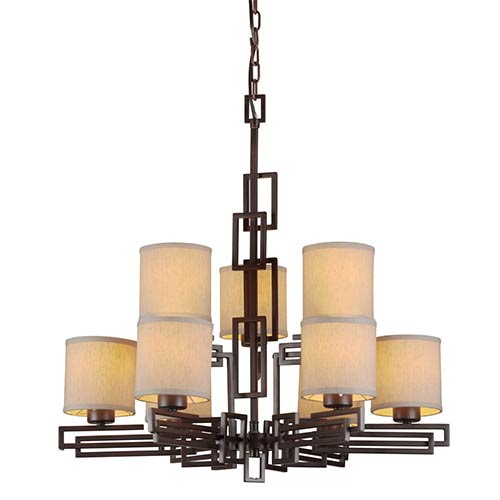 Forte Lighting Antique Bronze Nine-Light Chandelier with Fabric Shade