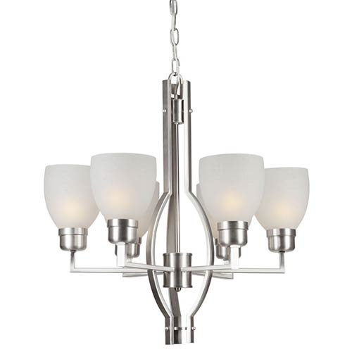 Forte Lighting Brushed Nickel Six-Light Chandelier with White Linen Glass