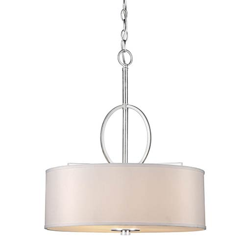 Brushed Nickel Four-Light 19.5-Inch Wide Drum Pendant with Fabric Shade