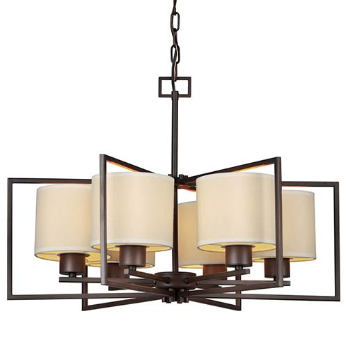 Forte Lighting Antique Bronze Six-Light 26-Inch Wide Chandelier