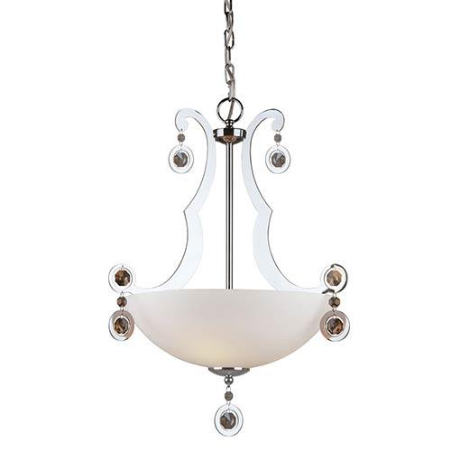 Chrome Three-Light Bowl Pendant