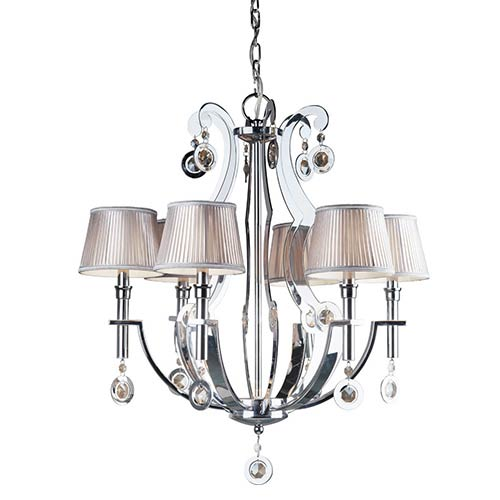 Chrome Six-Light 28-Inch Wide Chandelier
