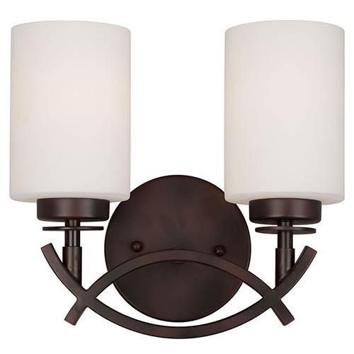 Forte Lighting Antique Bronze Two-Light 10-Inch High Bath Vanity Fixture