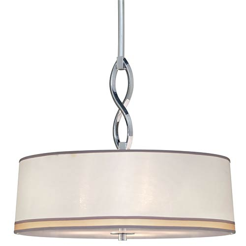 Chrome Three-Light 16.75-Inch Wide Drum Pendant with Fabric Shade