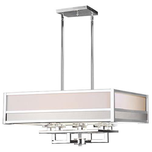 Chrome Eight-Light 26.5-Inch Wide Square Drum Pendant