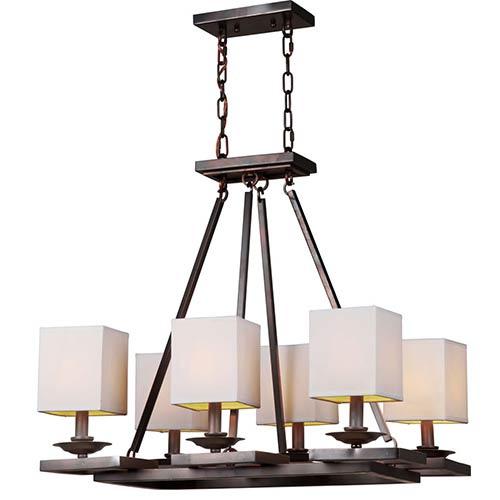 Antique Bronze Six-Light 19-Inch Wide Chandelier