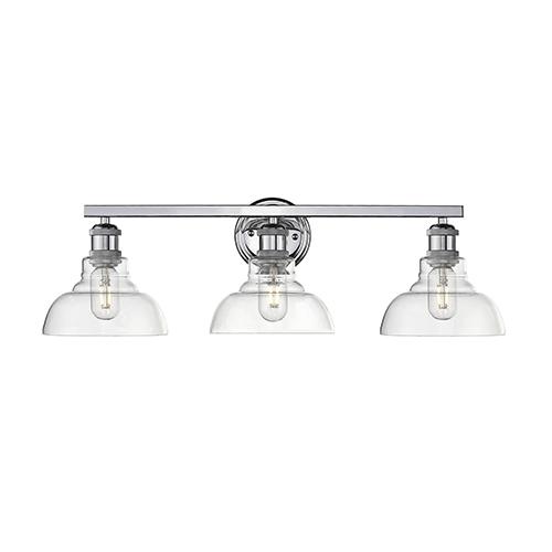 Carver Chrome Three-Light Bath Vanity
