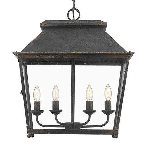 Abingdon Antique Black Iron Four-Light Pendant