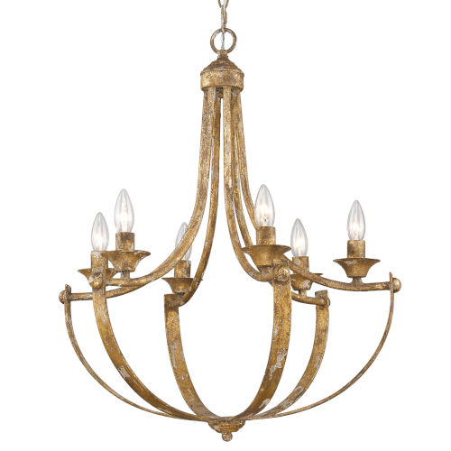 Victoria Heirloom Gold Six-Light Chandelier