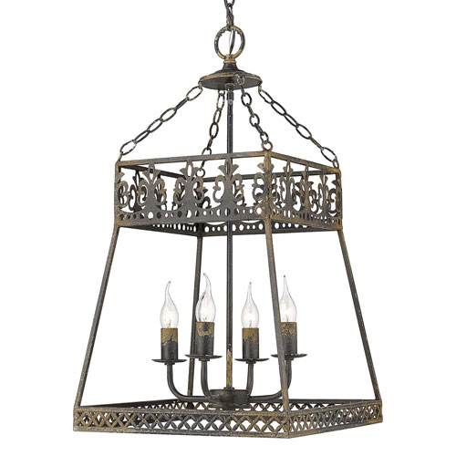 Tudor Antique Black Four-Light Pendant