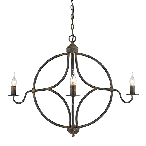 Caspian Antique Black Iron Four-Light Chandelier
