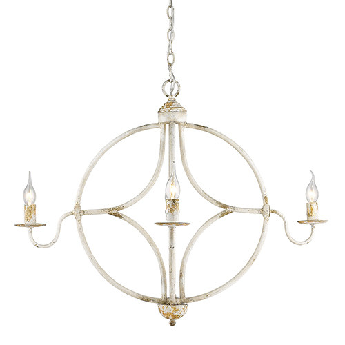 Caspian Antique Ivory Four-Light Chandelier