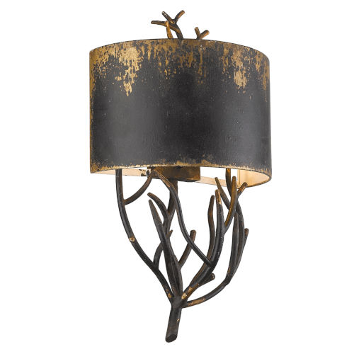 Esmay Antique Black Iron Two-Light Wall Sconce