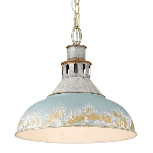 Kinsley Aged Galvanized Steel 14-Inch One-Light Pendant with Antique Teal Shade