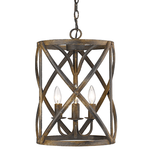 Alcott Antique Black Iron Three-Light Pendant