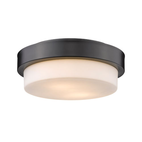 Matte Black 11-Inch Two-Light Flush Mount with Opal Glass