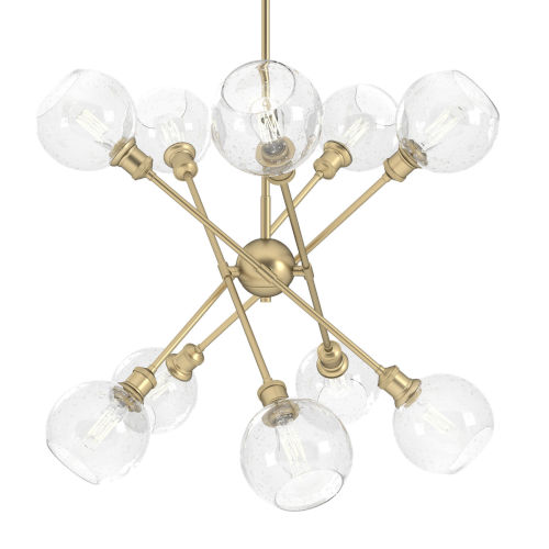 Axel Olympic Gold 18-Inch 10-Light Chandelier with Seeded Glass Globe Shade