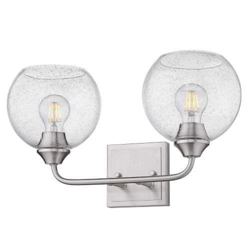 Ormond Pewter 18-Inch Two-Light Bath Vanity with Seeded Glass Globe Shade