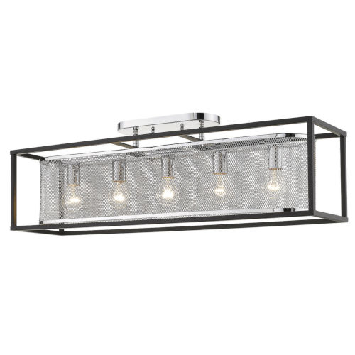 London Chrome 36-Inch Five-Light Semi Flush Mount with Outer Cage