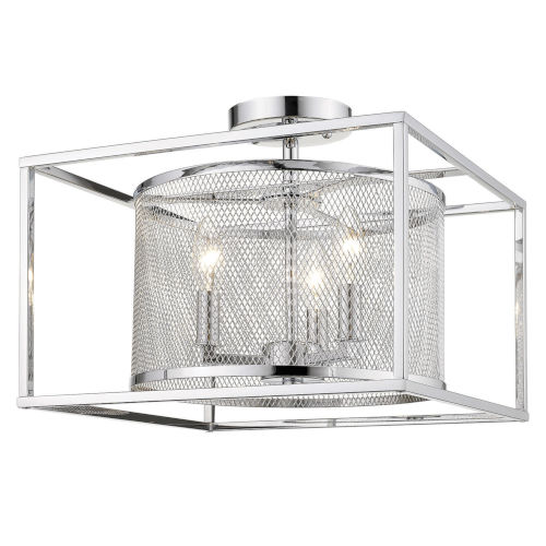 London Chrome 15-Inch Three-Light Semi Flush Mount with Chrome Outer Cage