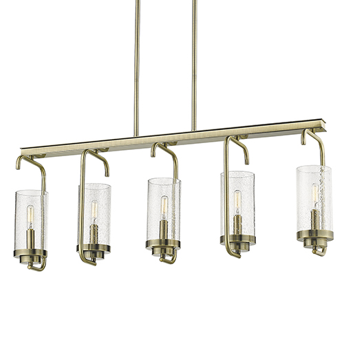 Holden Aged Brass Five-Light Linear Pendant
