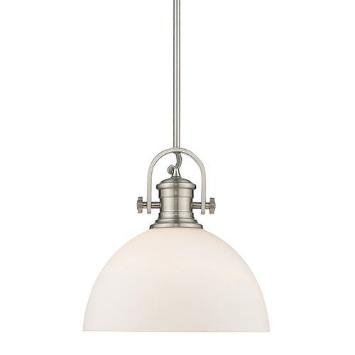 Hines Pewter 13-Inch One-Light Pendant with Opal Glass