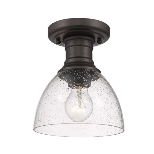 Hines Rubbed Bronze Seeded Glass Seven-Inch One-Light Semi Flush Mount