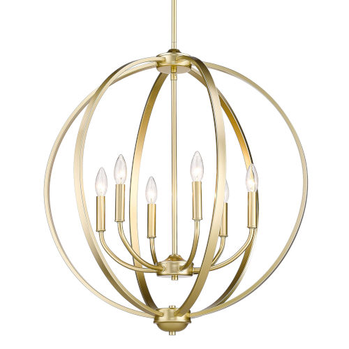 Colson Olympic Gold 26-Inch Six-Light Chandelier