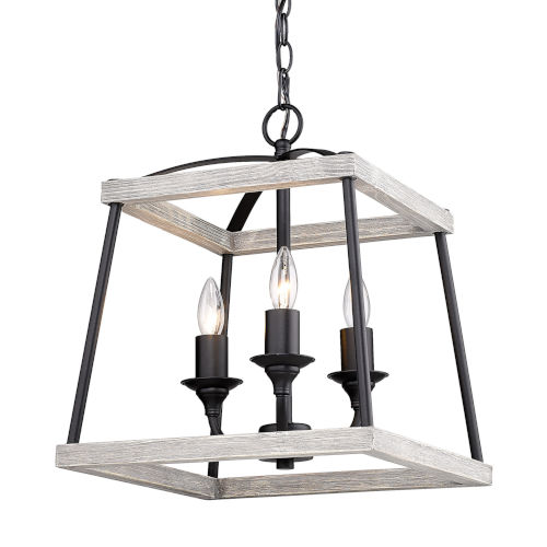 Teagan Natural Black 15-Inch Three-Light Pendant with Gray Harbor Wood Accents