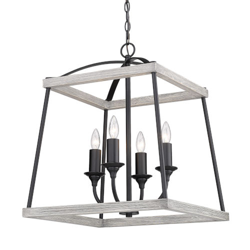 Teagan Natural Black 19-Inch Four-Light Pendant with Gray Harbor Wood Accents