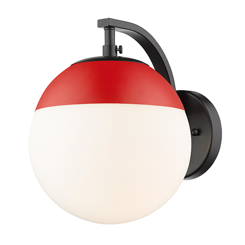 Dixon Black and Red Seven-Inch One-Light Wall Sconce with Opal Glass
