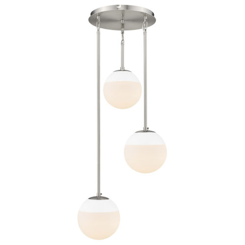 Dixon Pewter White Opal Glass 13-Inch Three-Light Pendant