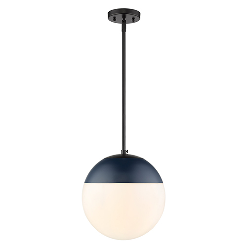 Golden Lighting Dixon Black and Navy 11-Inch One-Light Pendant with Opal Glass