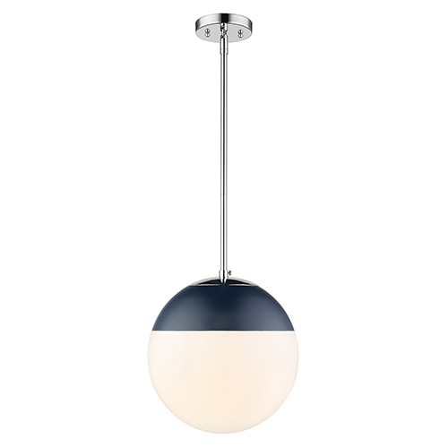 Dixon Chrome and Matte Navy 11-Inch One-Light Pendant with Opal Glass