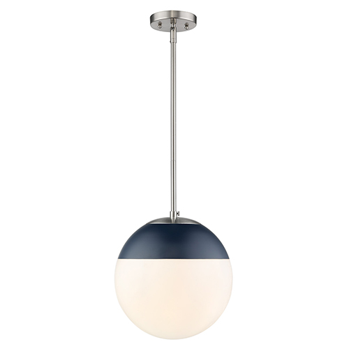 Golden Lighting Dixon Pewter and Matte Navy 11-Inch One-Light Pendant with Opal Glass