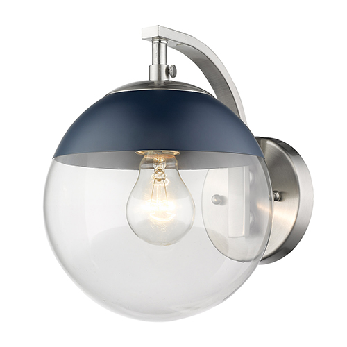 Dixon Pewter and Matte Navy Seven-Inch One-Light Wall Sconce