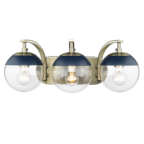 Dixon Aged Brass and Navy 21-Inch Three-Light Bath Vanity