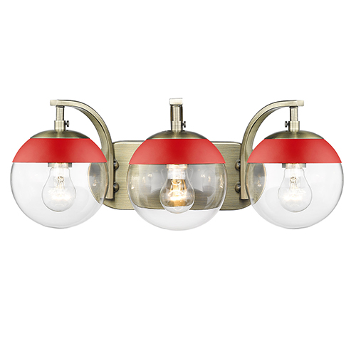 Dixon Aged Brass and Red 21-Inch Three-Light Bath Vanity