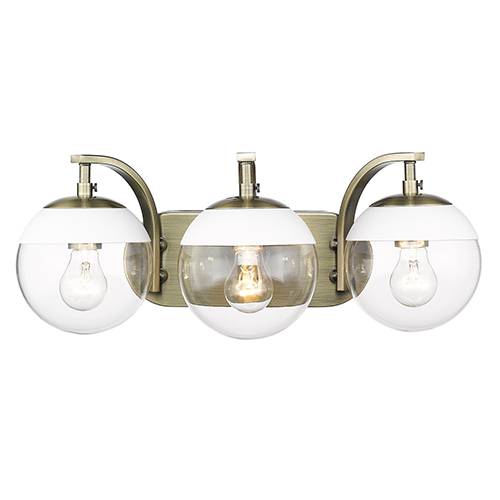 Dixon Aged Brass and White 21-Inch Three-Light Bath Vanity